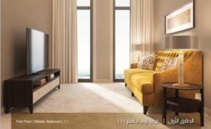 الطابق الاول غرف نوم ماستر نموذج بي بيوت الملقا Uvisne.JPG