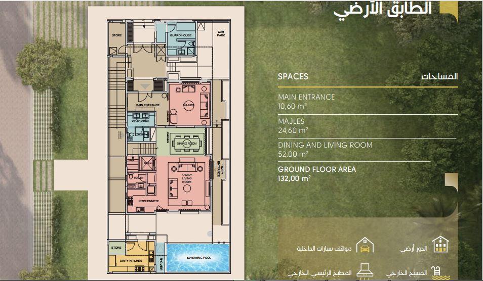 مساحة الطابق الارضي في نموذج A بيوت الملقا