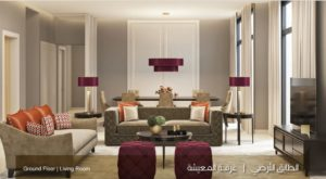 الطابق الارضي غرفة المعيشة نموذج A