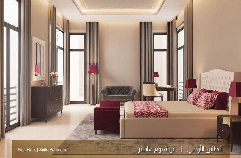 صورة الطابق الارضي غرفة نوم ماستر بالنموذج C بيوت الملقا