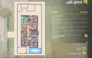 مساحات الطابق الاول بيوت الملقا