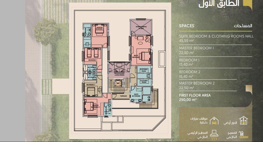 مساحة الطابق الاول بالنموذج C