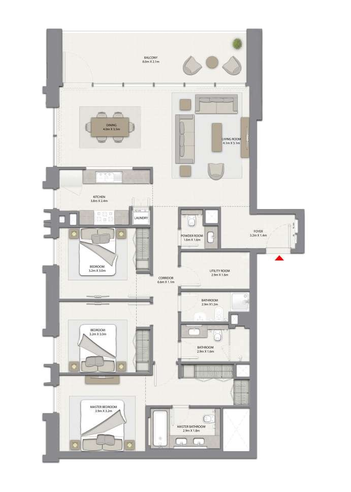 3 BEDROOM WITH BALCONY