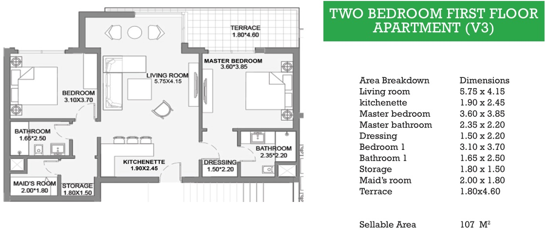 TWO BEDROOM FIRST FLOOR APARTMENT (V3)