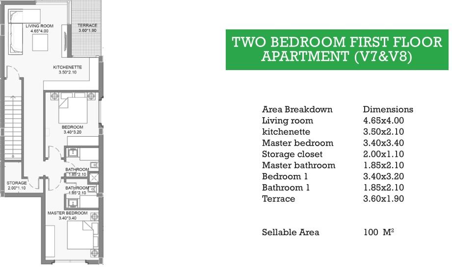 TWO BEDROOM FIRST FLOOR APARTMENT (V7&V8)
