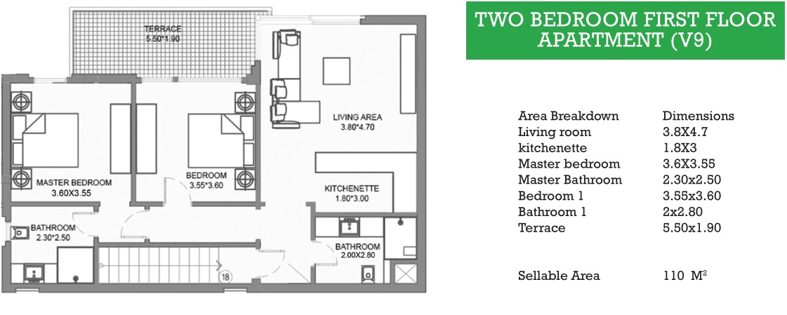 TWO BEDROOM FIRST FLOOR APARTMENT (V9)