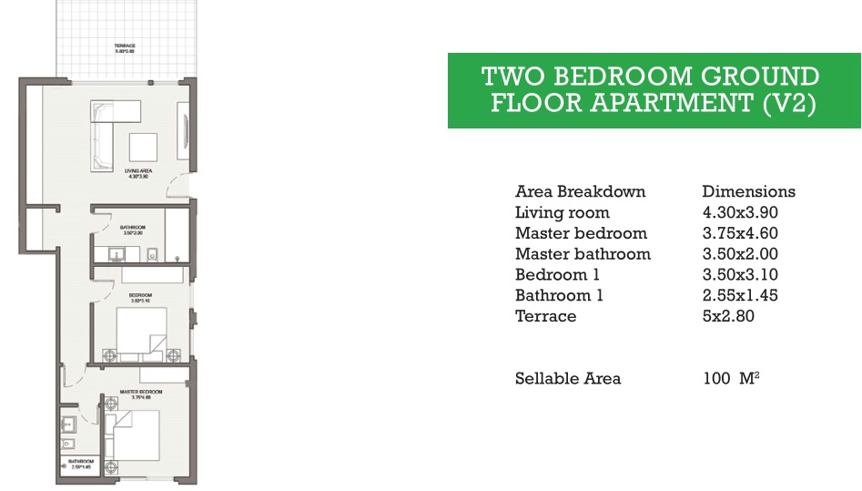 TWO BEDROOM GROUND FLOOR APARTMENT (V2)