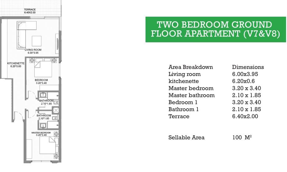 TWO BEDROOM GROUND FLOOR APARTMENT (V7&V8)