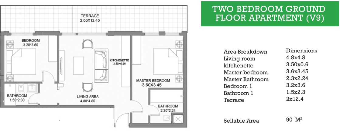 TWO BEDROOM GROUND FLOOR APARTMENT (V9)
