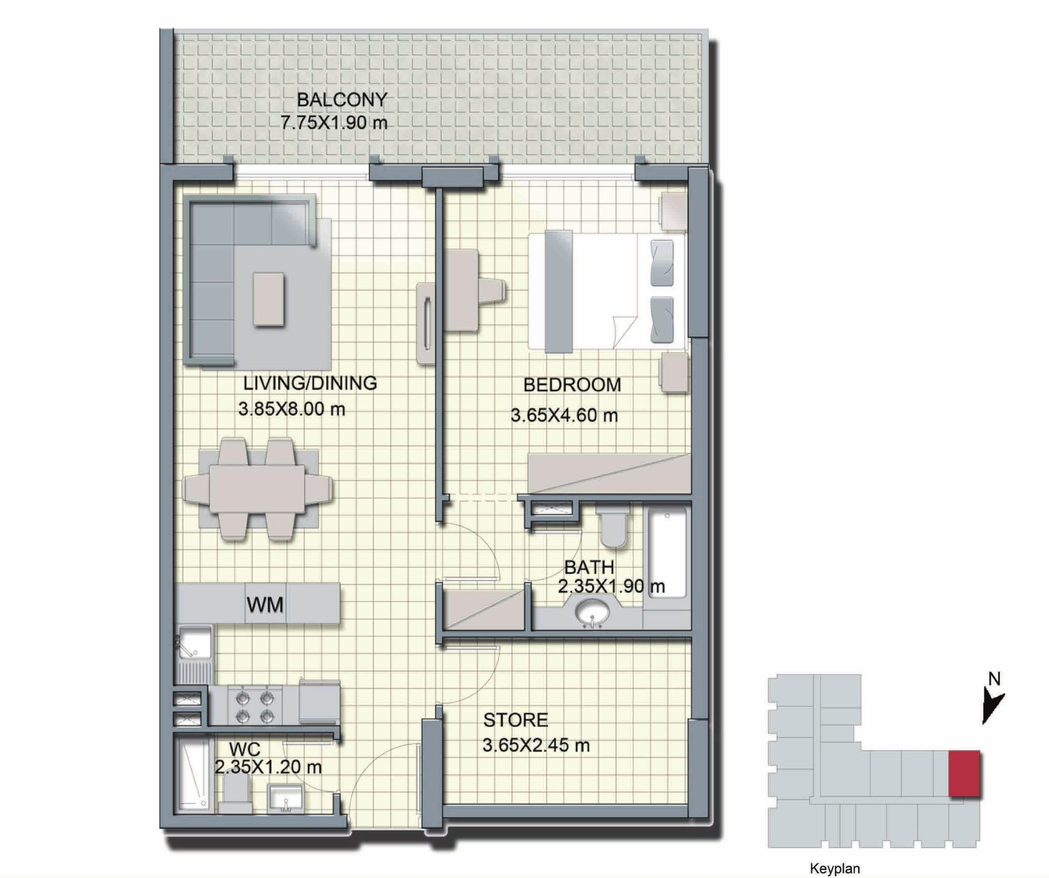 1 Bedroom + Store - A6