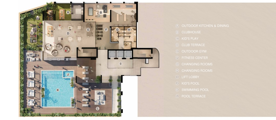 BELGRAVIA HEIGHTS I AMENITIES PLAN AT HEALTH CLUB LEVEL