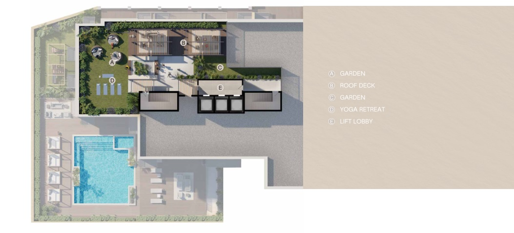 BELGRAVIA HEIGHTS I AMENITIES PLAN AT ROOF TERRACE