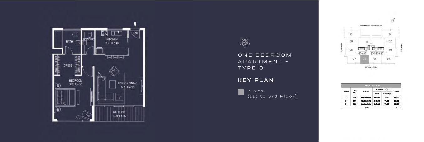 ONE BEDROOM APARTMENT - TYPE B