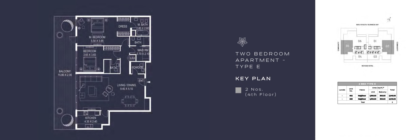 TWO BEDROOM APARTMENT - TYPE E