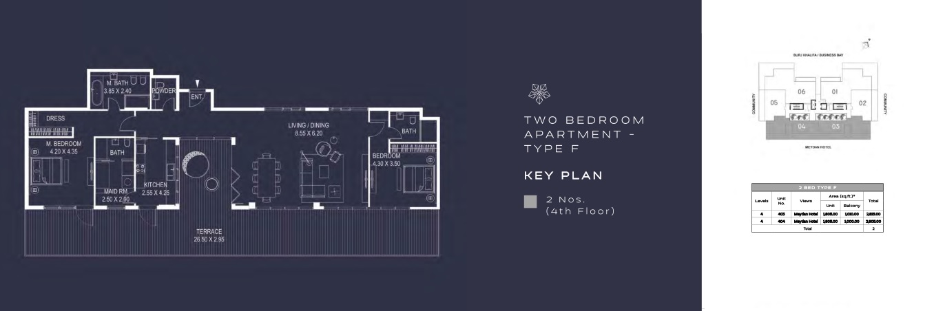 TWO BEDROOM APARTMENT - TYPE F