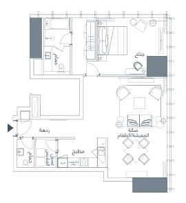 شقة غرفة نوم واحدة 96–92 متر مربع 02