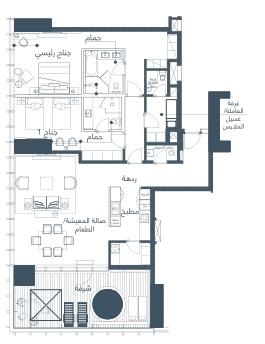 شقة 2 غرف نوم (شرفة) 215–210 متر مربع 02
