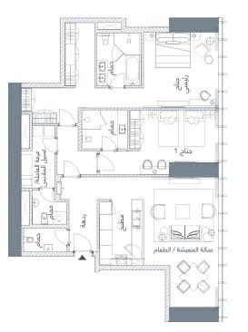 شقة 2 غرف نوم 177–121 متر مربع 03