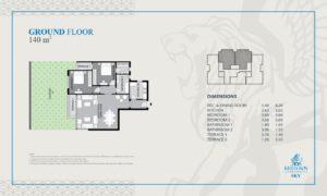 ميد تاون سكاى العاصمة الادارية الجديدة Midtown Sky - شقة بحديقة 2 غرف 1 حمام 120 متر² - السعر 1,452,000جنية - سعر المتر 12,100 جنية
