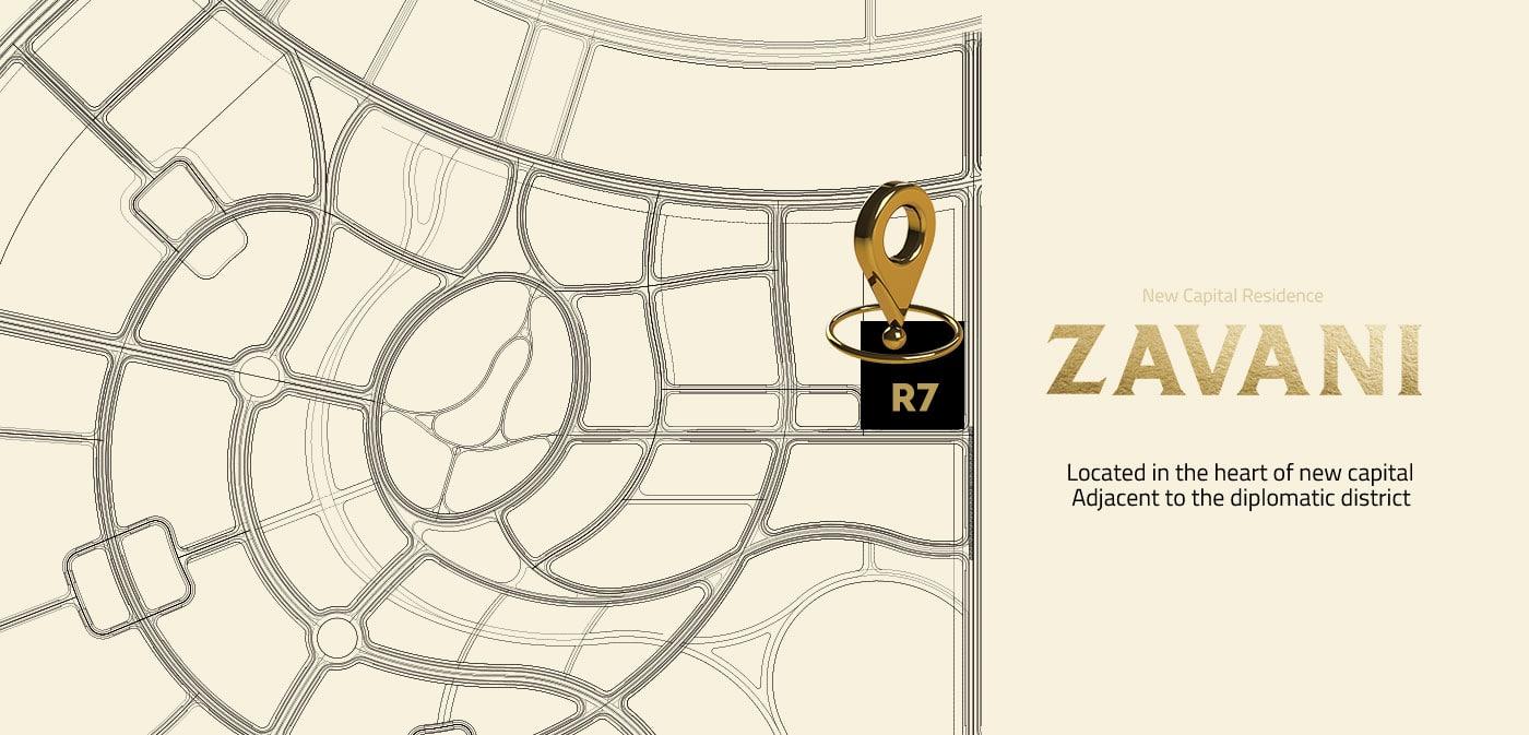 موقع كمبوند زفاني بالعاصمة الادارية في منطقة R7Zavani New capital