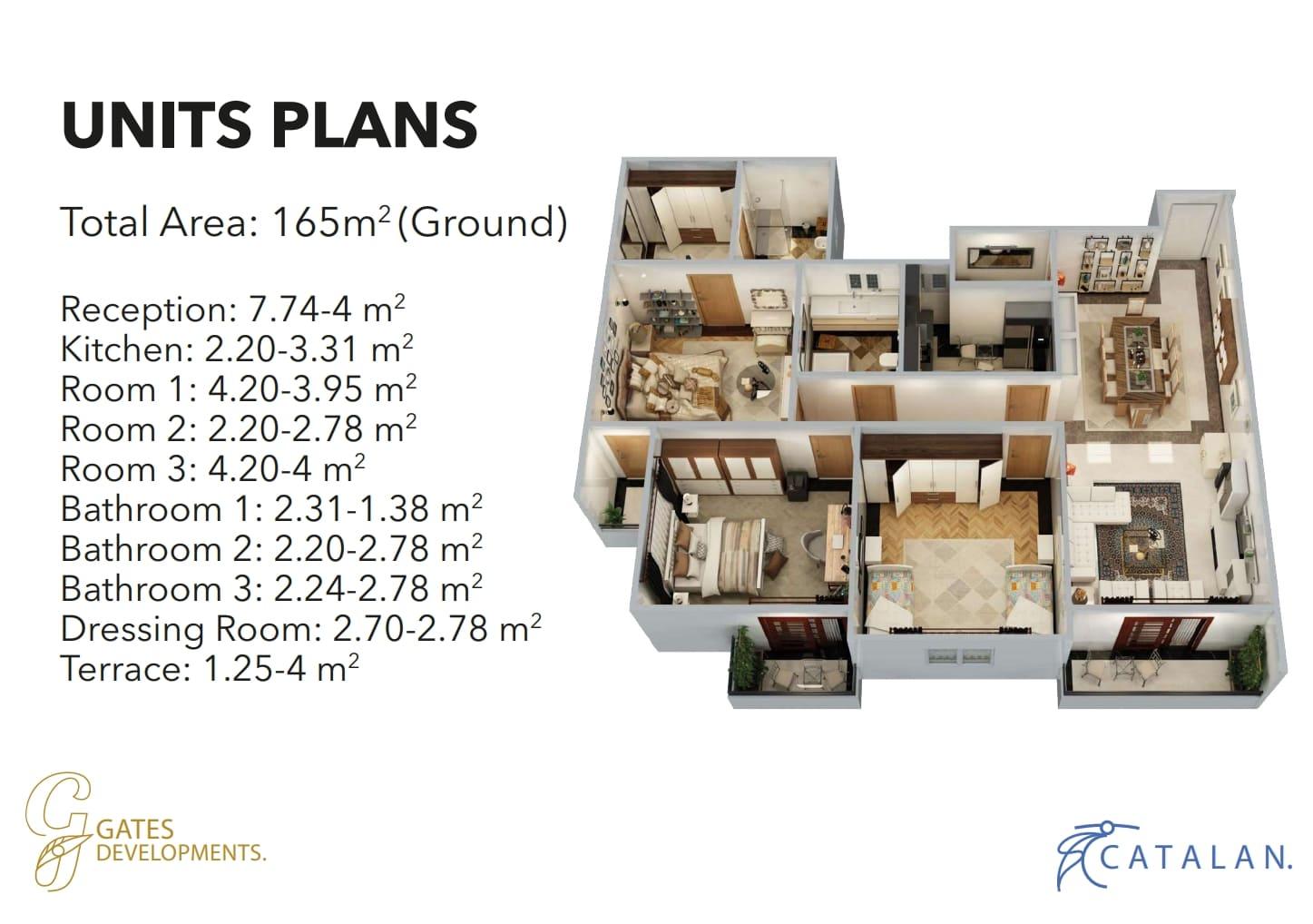 شقة للبيع165م بالعاصمة الادارية في كمبوند Catalan بتسهيلات تصل الي10سنوات