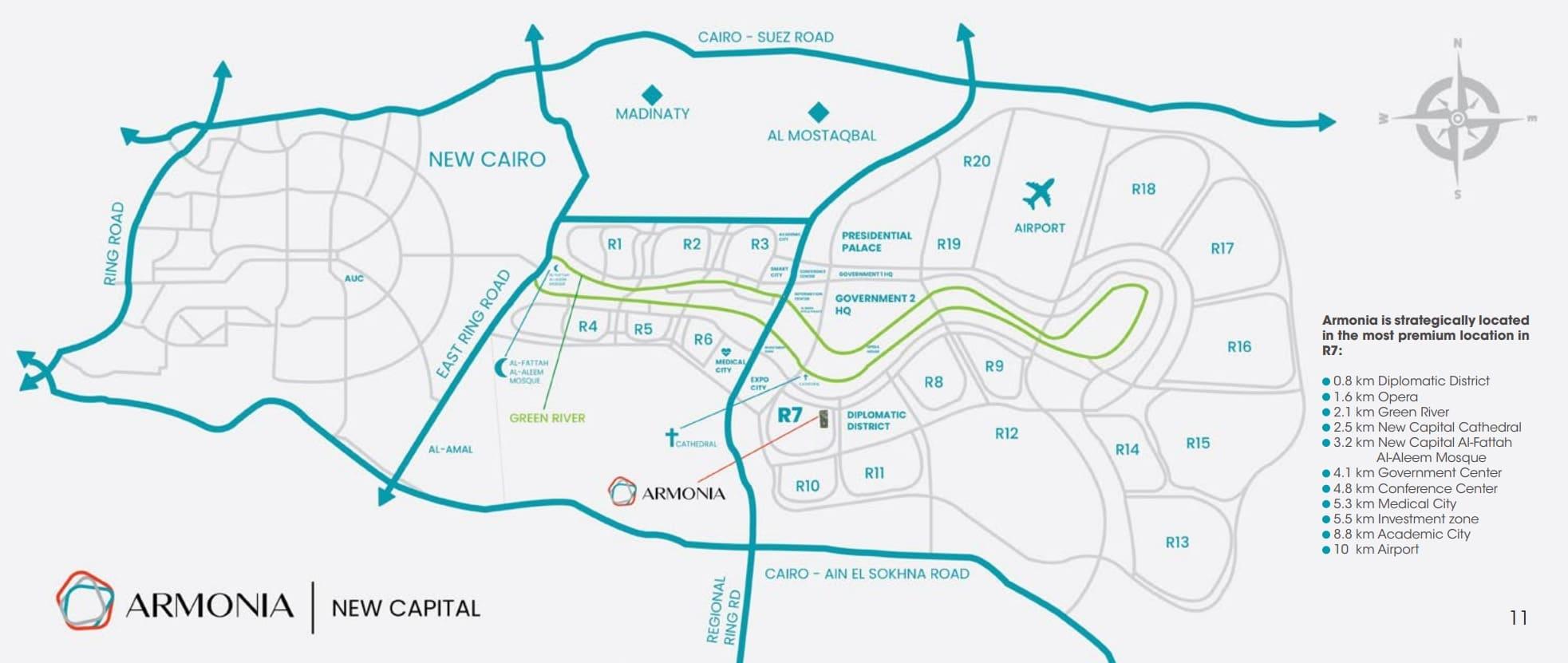 الطريق الى كمبوند ارمونيا العاصمة الادراية الجديدة Compound Armonia