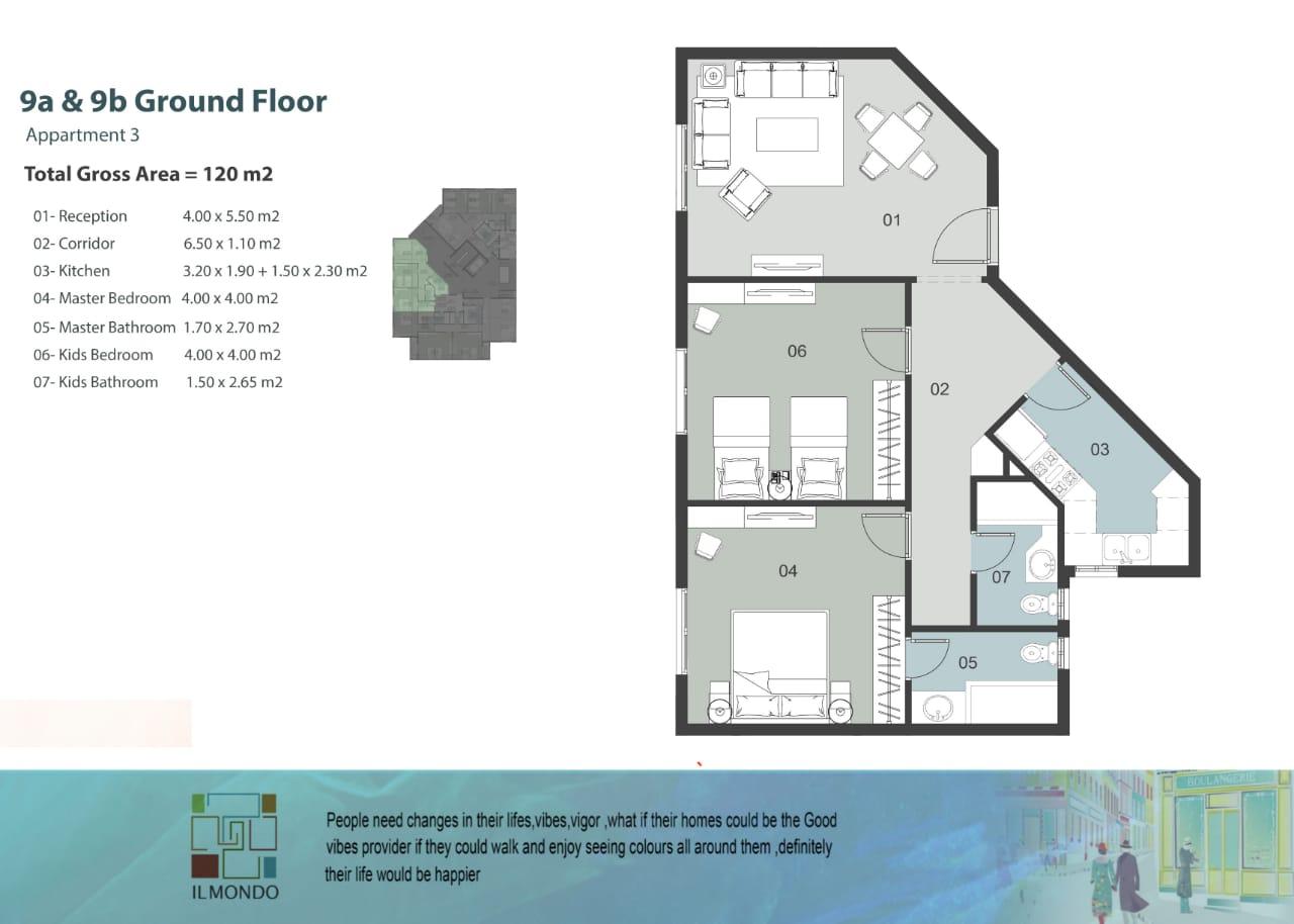 شقة بكمبوند الموندو العاصمة الادارية IL MONDO New Capital مساحة 120 متر