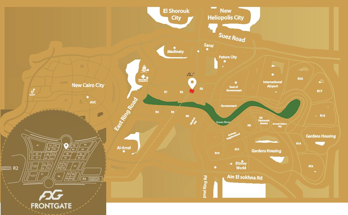 موقع مشروع فرونت جيت مول العاصمة الادارية الجديدة