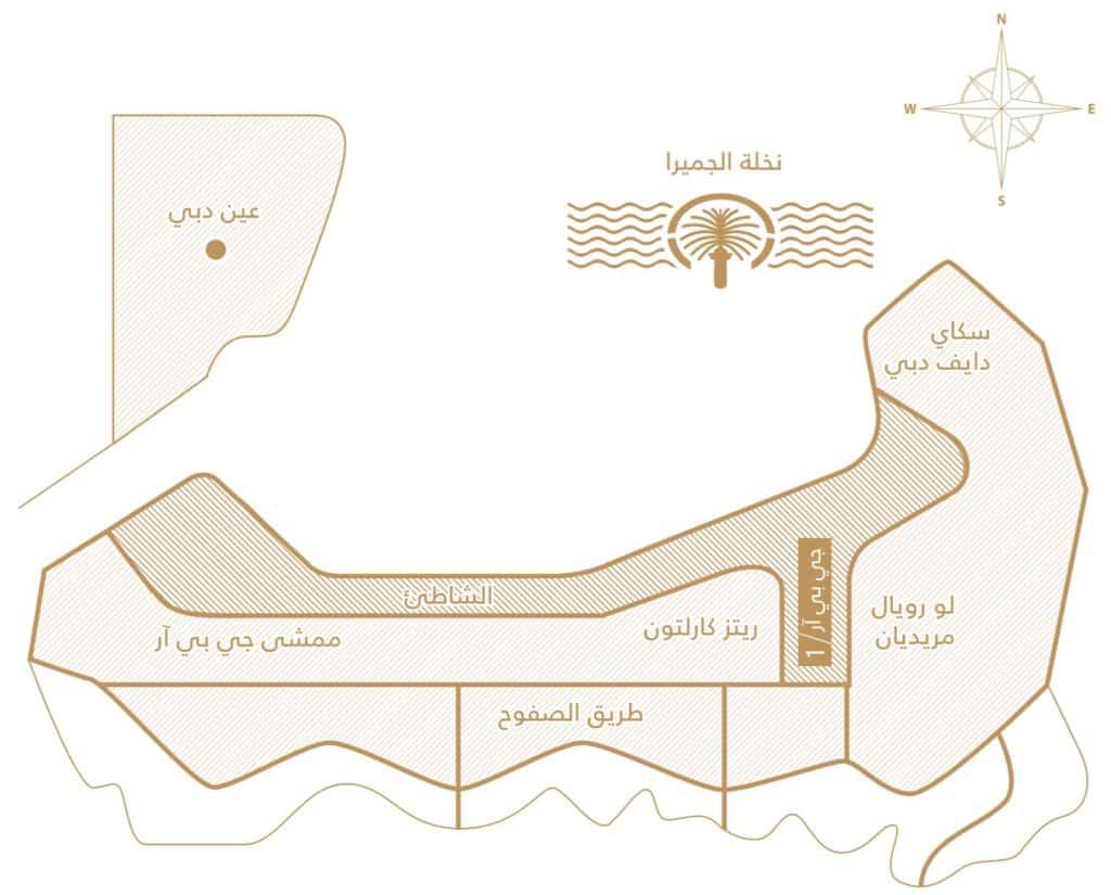 موقع برج وان جى بى أر جميرة دبى One JPR Jumeirah Dubai