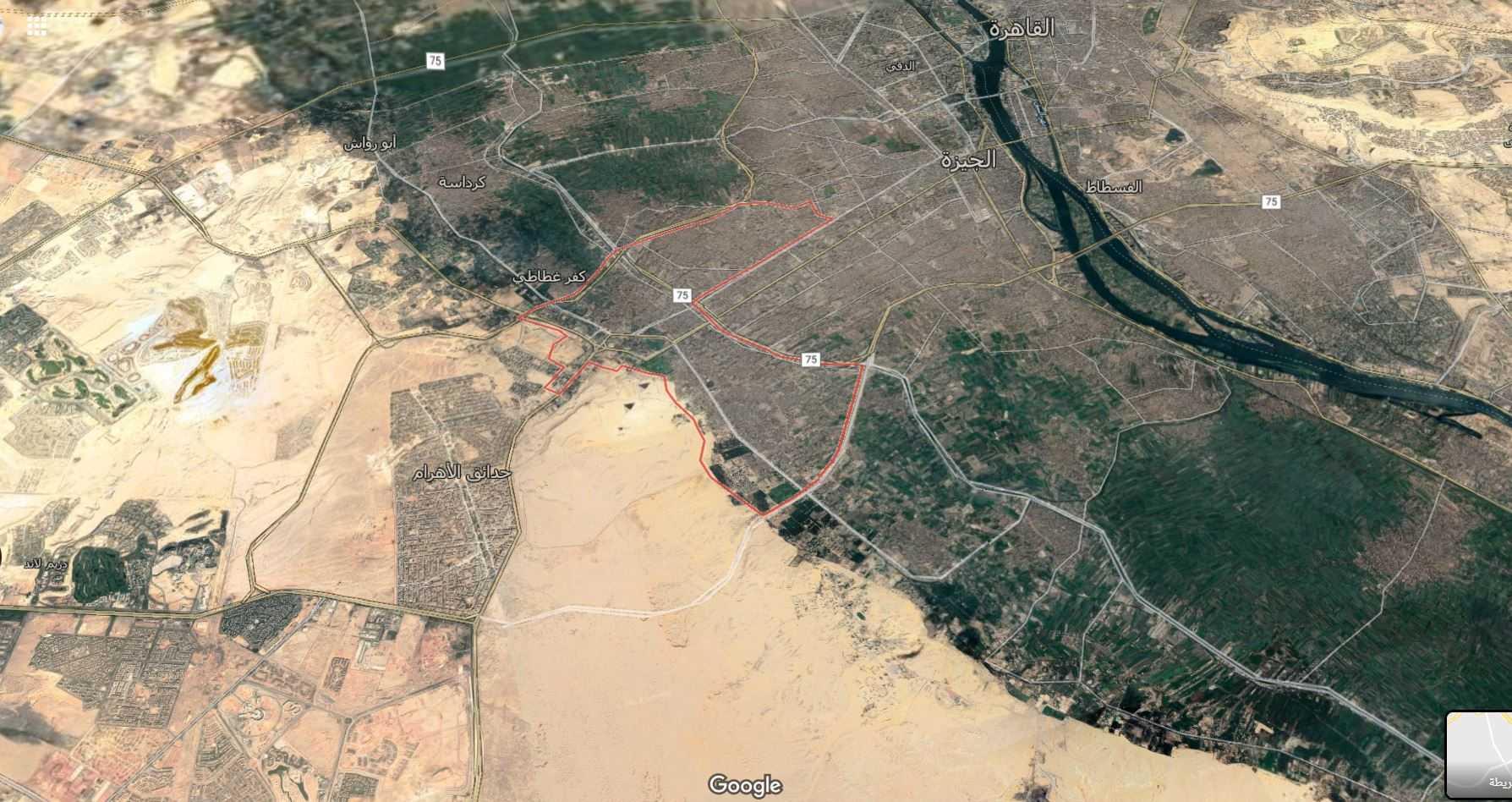موقع حي الهرم وشارع الهرم من القمر الصناعي ( لمزيد من التوضيح )