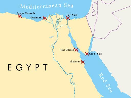 موقع مرسى مطروح على الخريطة